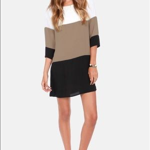 SOLD OUT 🖤 LuLus taupe color block shift dress S